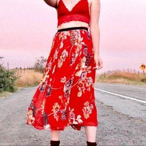 Vintage Oscar de la Renta Floral Midi Skirt